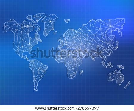 World Map illustration in polygonal style - stock photo