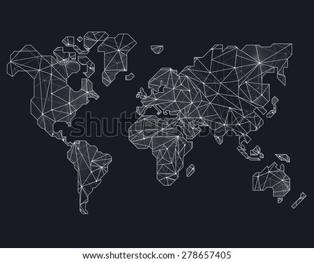 World map illustration in polygonal style - stock photo