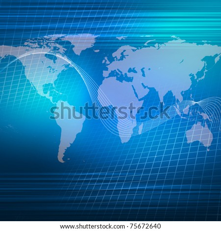 world map illustration with communication and technology symbols - stock photo