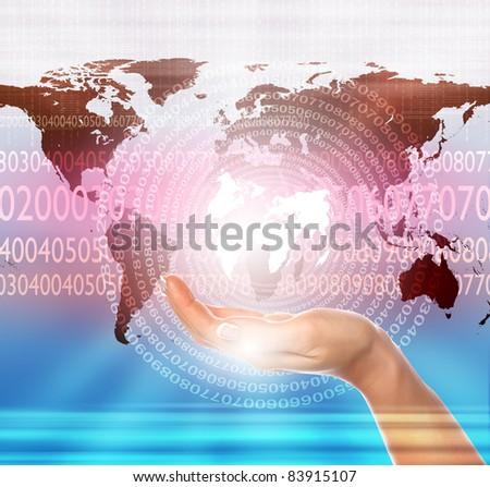 world map illustration with communication and technology symbols - stock photo