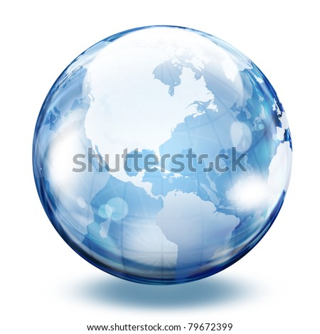 World map in a glass sphere - stock photo