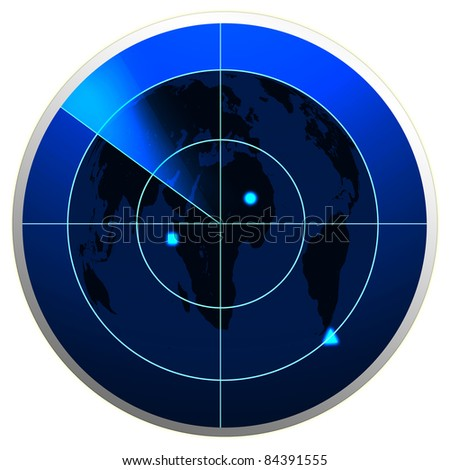 World map in a radar screen - stock photo