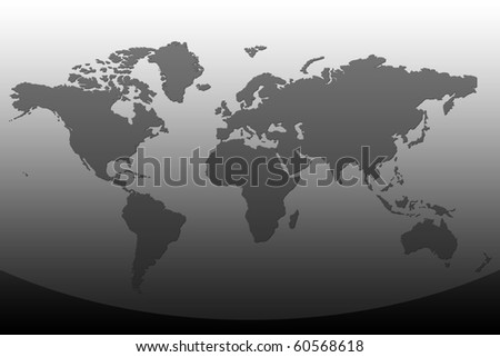 World Map in black color - stock photo