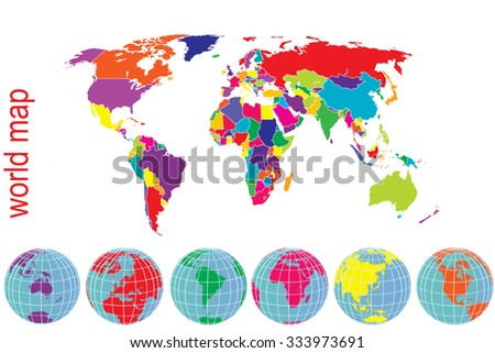 World map in brights tones with Earth globes - stock photo