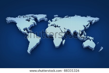 World map in 3d cube (done in 3d) - stock photo