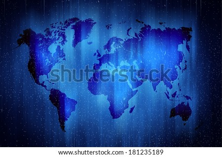 World map in modern space style - stock photo