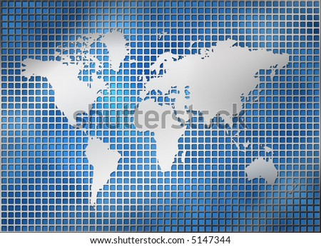 world map in silver on a metal grid pattern