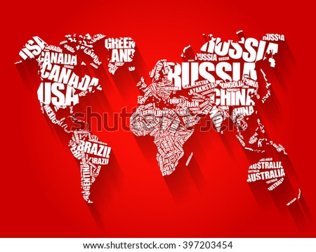 World map typography word cloud concept stock illustration 397203454 world map in typography word cloud concept names of countries flat style design background gumiabroncs Choice Image