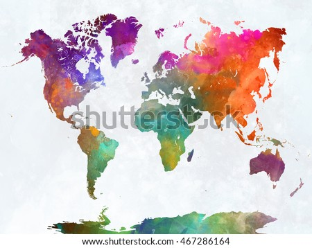 World map watercolor painting abstract splatters ilustracin de world map watercolor painting abstract splatters ilustracin de stock467286164 shutterstock gumiabroncs Gallery