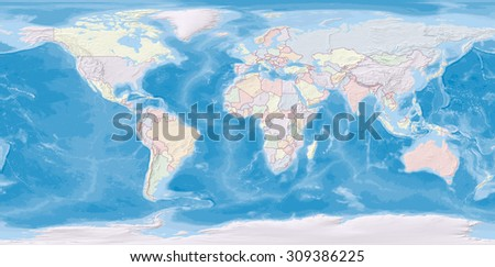 World map in WGS84 projection with countries colored and relief shading - stock photo