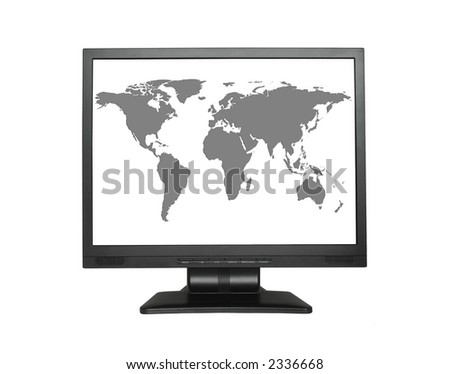 World map in wide LCD screen - stock photo