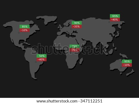 World map infographic  illustration. Statistic and analytics. Raster illustration - stock photo