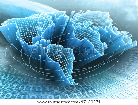 World Map interconnected by information. Concept of global information and technology of communication. - stock photo