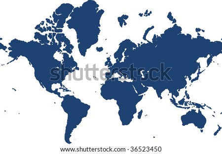 world map isolated over a white - stock photo