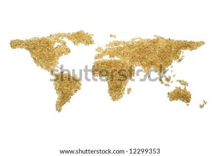 World map made from brown rice, representing concepts of world hunger, poverty, trade, globalization.