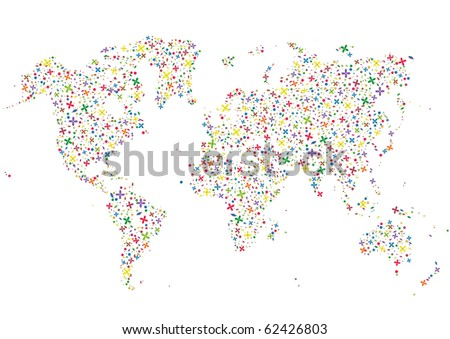 world map, made from flowers - stock photo