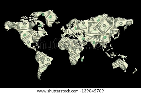 World map made from  money texture. Money concept - stock photo