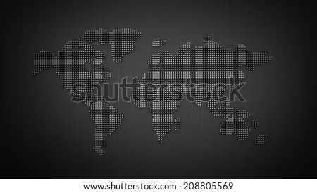 world map made from silver balls on gray backround High resolution 3d render  - stock photo