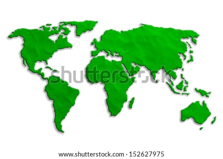 World Map made from toy clay - stock photo