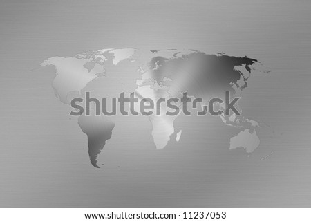 World map made like a logo on brushed metal - stock photo