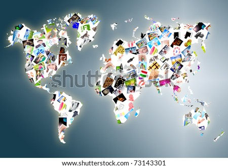 World map made of a lot photos - stock photo