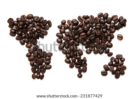 World map made of coffee grains - stock photo