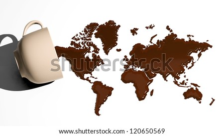 World map made of coffee stains - stock photo