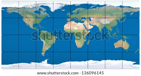 World map made of cubes isolated on white background. Elements of this image furnished by NASA. - stock photo