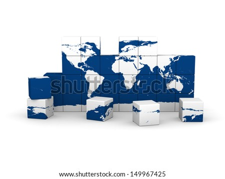 World map made of cubes isolated on white background. Elements of this image furnished by NASA.