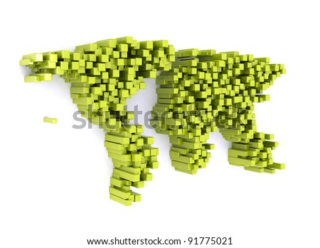 World map made of 3d cubes