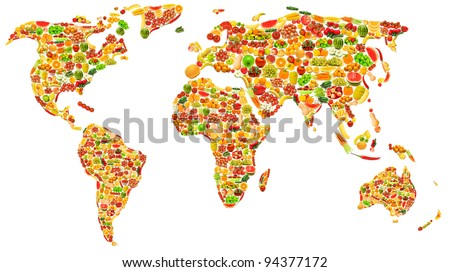 World map made of many fruits and vegetables - stock photo