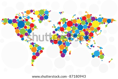 World map made of multicolored bubbles. Raster version. Vector version is also available. - stock photo