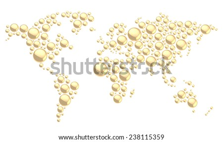 World map made of multiple golden glossy metal dimensional round shapes, composition isolated over the white background - stock photo