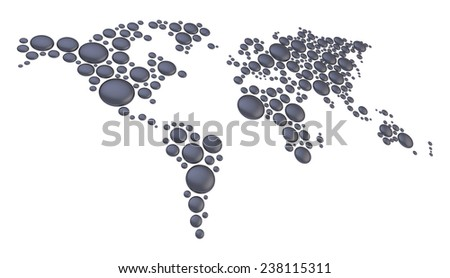 World map made of multiple matt black plastic dimensional round shapes, composition isolated over the white background - stock photo