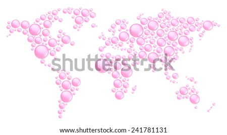 World map made of multiple pink glossy plastic dimensional round shapes, composition isolated over the white background - stock photo