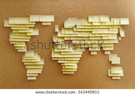 World map made of sticky notes  - stock photo