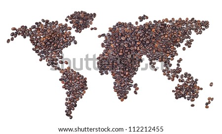 world map made with coffee beans - a world of coffee. - stock photo