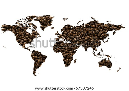 world map made with coffee beans - a world of coffee - stock photo