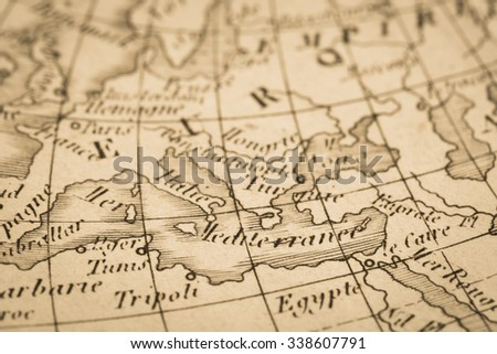 World Map Mediterranean coastal areas of antique