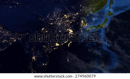 World Map Montage - Asian Day & Night Contrast (Public Domain Maps furnished by NASA) - stock photo