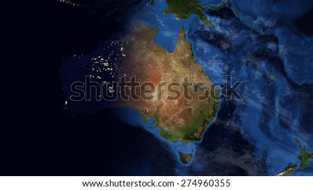 World Map Montage - Australia Day & Night Contrast (Public Domain Maps furnished by NASA) - stock photo