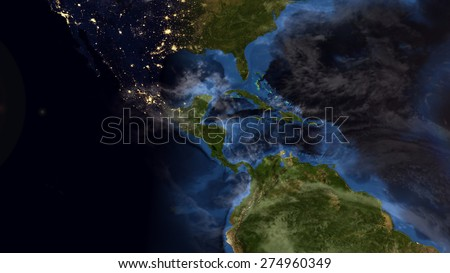 World Map Montage. Central American Night. Elements of this image furnished by NASA - stock photo