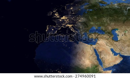 World map montage europe day night stock illustration 274960091 world map montage europe day night contrast public domain maps furnished by nasa gumiabroncs Gallery
