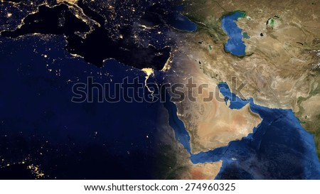 World Map Montage - Mediterranean Day & Night Contrast (Public Domain Maps furnished by NASA) - stock photo
