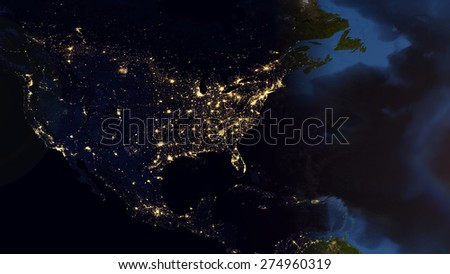 World Map Montage - North America Day & Night Contrast. Elements of this image furnished by NASA - stock photo