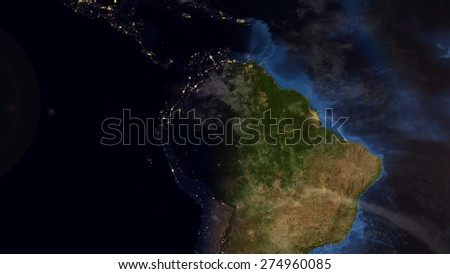 World Map Montage - South America Day & Night Contrast (Public Domain Maps furnished by NASA) - stock photo