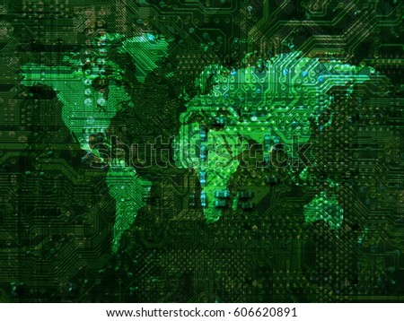 World map Motherboard texture background