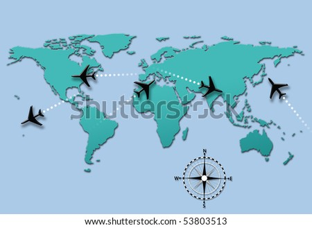 World map of airline airplane flight path travel plans. - stock photo