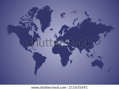 World Map of continents, blue - stock photo