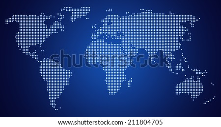 World Map of continents, dotted, blue, on navy blue background - stock photo
